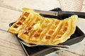 Butter Dish Breakfast Set Waffle Stock Image