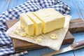 Butter with knife on a wooden table Royalty Free Stock Photo