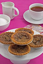 Butter tarts and tea Stock Photo