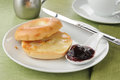 Buttered bagel with jam Royalty Free Stock Photography