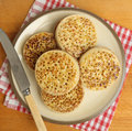Buttered crumpets plate of hot english Royalty Free Stock Images