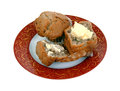 Buttered and Whole Apple Spice Muffins Royalty Free Stock Photo