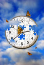 Butterflies and clock Royalty Free Stock Images