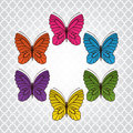 Butterflies with copyspace to middle and beautiful pattern to back Royalty Free Stock Photos