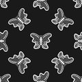 Butterflies drawn by hand. Seamless pattern. Sketch, doodle.