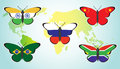Butterflies with flags of countries Royalty Free Stock Photo
