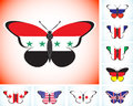 Butterflies with flags of countries group of Eight and Syria