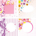 Butterflies Floral Frame Backgrounds Set Royalty Free Stock Photos