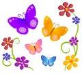 Butterflies Flowers Clip Art 1