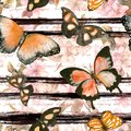 Butterflies, flowers at monochrome striped background with hand written text. Repeating floral background. Watercolor Royalty Free Stock Photo