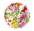 Butterflies and flowers. Round floral pattern. Watercolour Royalty Free Stock Photo