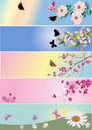 Butterflies and flowers stripes collection Stock Images