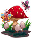 Butterflies flying near a giant mushroom illustration of the on white bakcground Stock Image