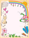 Butterflies friends frame illustration of can fly anywhere to meet composition to your sample text or image Stock Photography