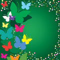 Butterflies on green background Royalty Free Stock Photo