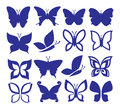 Butterflies icons vector color set on white Royalty Free Stock Images