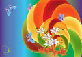Butterflies and lily flowers on rainbow background Stock Image