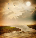 Butterflies moon sepia colored fantasy landscape Stock Photography