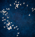 Butterflies over dark blue background Royalty Free Stock Photo