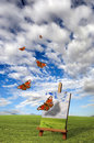 Butterflies and painter easel Royalty Free Stock Photography