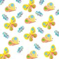 Butterflies pattern drawing insects watercolor summer