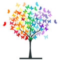 Butterflies rainbow tree over white background Royalty Free Stock Images