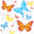 Butterflies seamless pattern colorful with white background Royalty Free Stock Photos