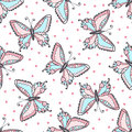Butterflies seamless pattern in doodle style. Hand drawn butterfly vector illustration for fabric. textile, wrapping, wallpaper, p