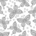 Butterflies seamless pattern, monochrome, coloring book, black and white illustration in boho style, hippie, bohemian