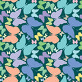 Butterflies seamless pattern over blue extended Royalty Free Stock Photo