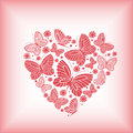 Butterflies in the shape of a heart with small flowers Royalty Free Stock Images