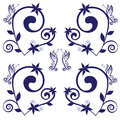 Butterflies spring pattern navy vector illustration Royalty Free Stock Photography