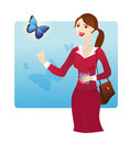 Butterflies in the stomach Royalty Free Stock Photo