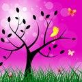 Butterflies Tree Shows Flock O...