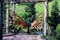 Butterfly bench in the park Royalty Free Stock Photo