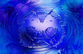 Butterfly on blue background. Glass and metal effect and swirl. Royalty Free Stock Photo