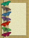 Butterfly border image and illustration composition of butterflies in rustic colors on layered look background of illustrated Royalty Free Stock Image