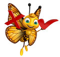 Butterfly cartoon character with right sign  and cross sign Royalty Free Stock Photo