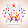 Butterfly, clouds, flowers, diamonds, raindrops cartoon nature vector illustration Royalty Free Stock Photo