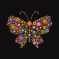 Butterfly consisting of different colors flowers on black Royalty Free Stock Photo