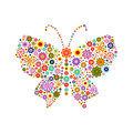 Butterfly consisting of different colors flowers on white