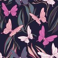 Butterfly fabric pattern. Foliage leves and beautiful flying insects spring objects. Summer cloth, vintage decorative
