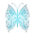 Butterfly of fine lines in blue color Stock Photos