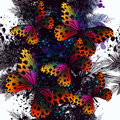 Butterfly floral pattern on tropical theme