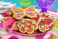 Butterfly and flower shaped gingerbread cookies for summer party Stock Images