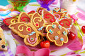 Butterfly and flower shaped gingerbread cookies for summer party Royalty Free Stock Photo
