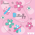 Butterfly with flower vector illustration Royalty Free Stock Photo