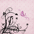 Butterfly and foliage vector background Stock Photography