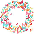 Butterfly frame, wreath design element, retro banner Royalty Free Stock Photo