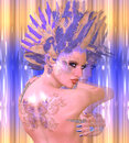 Butterfly Girl. Modern digital art beauty and fashion fantasy scene with purple and gold feathers.
